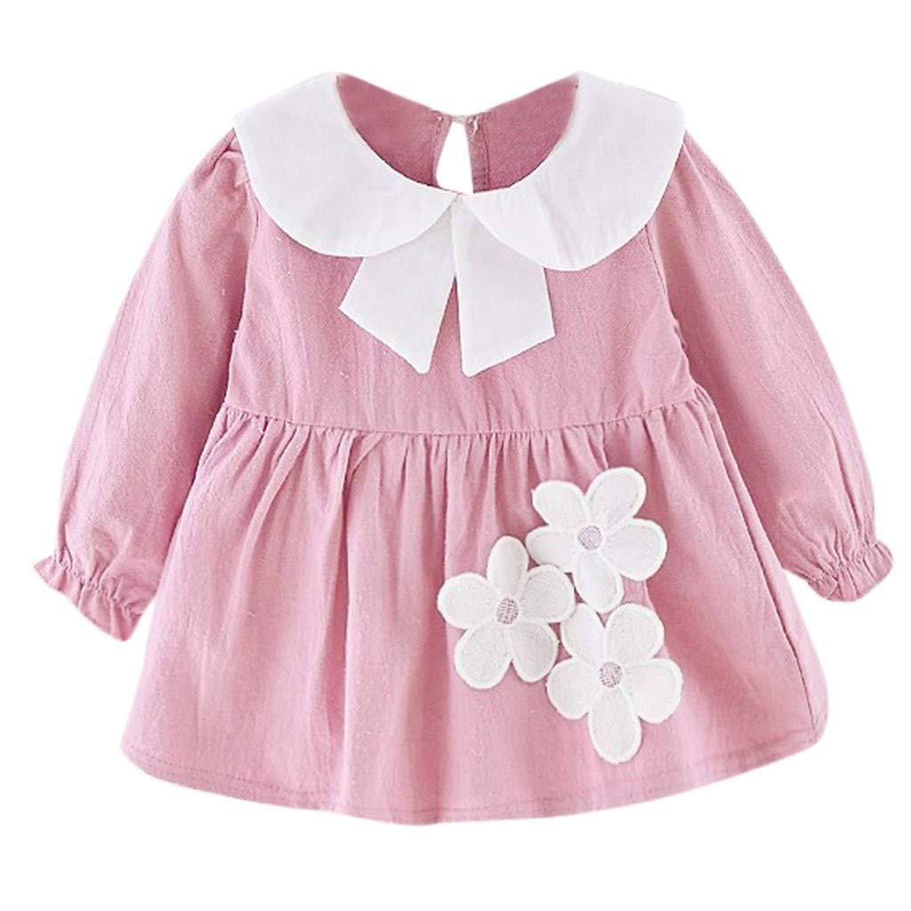 Randolly Girls Dress,Children Kids Long Sleeves Flower Dance Party Princess Clothes