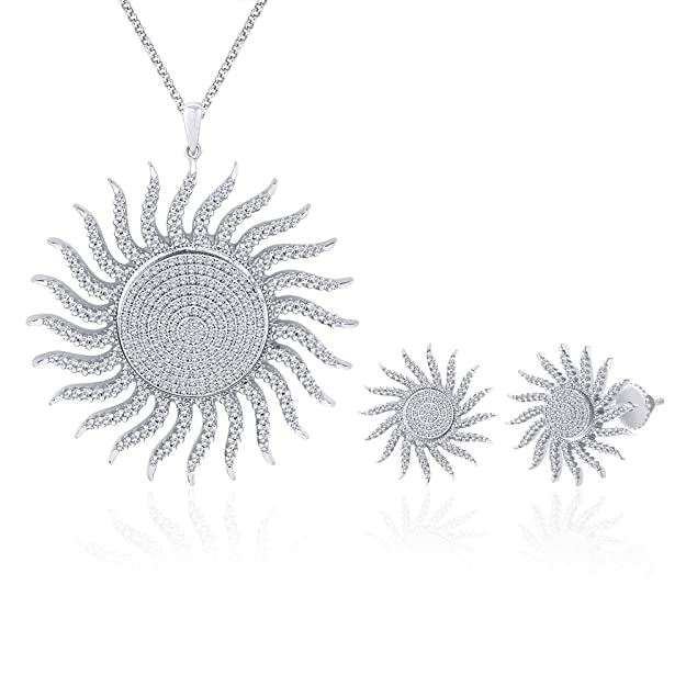 Peora Valentine Sassy Solar Flare Rhodium Plated Pendant Set for Women PS117S Jewellery Sets at amazon