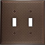 Questech Pyramid Decorative Metal Composite Switch Plate/Wall Plate/Outlet Cover (Double Toggle, Oil Rubbed Bronze)