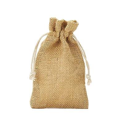 12 bolsas de yute con cordón de algodón. Tamaño: 15x10 cm, 100% yute, decoración invernal, envoltorio de regalos de navidad (natural): Juguetes y juegos