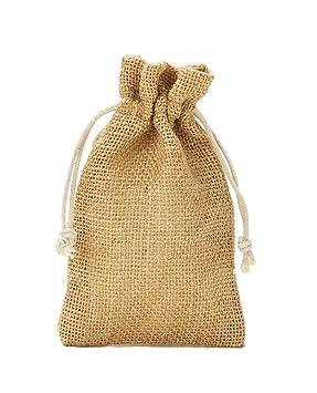 10 bolsas de yute con cordón de algodón. Tamaño: 30x20 cm ...