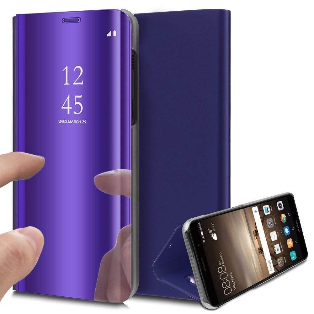 Felfy Compatible avec Huawei P30 Lite Miroir Coque,Compatible avec Huawei P30 Lite Etui Portefeuille PU Cuir Flip Case Housse /à Rabat Magn/étique Complet Couverture Bumper avec Fonction Stand,Argent