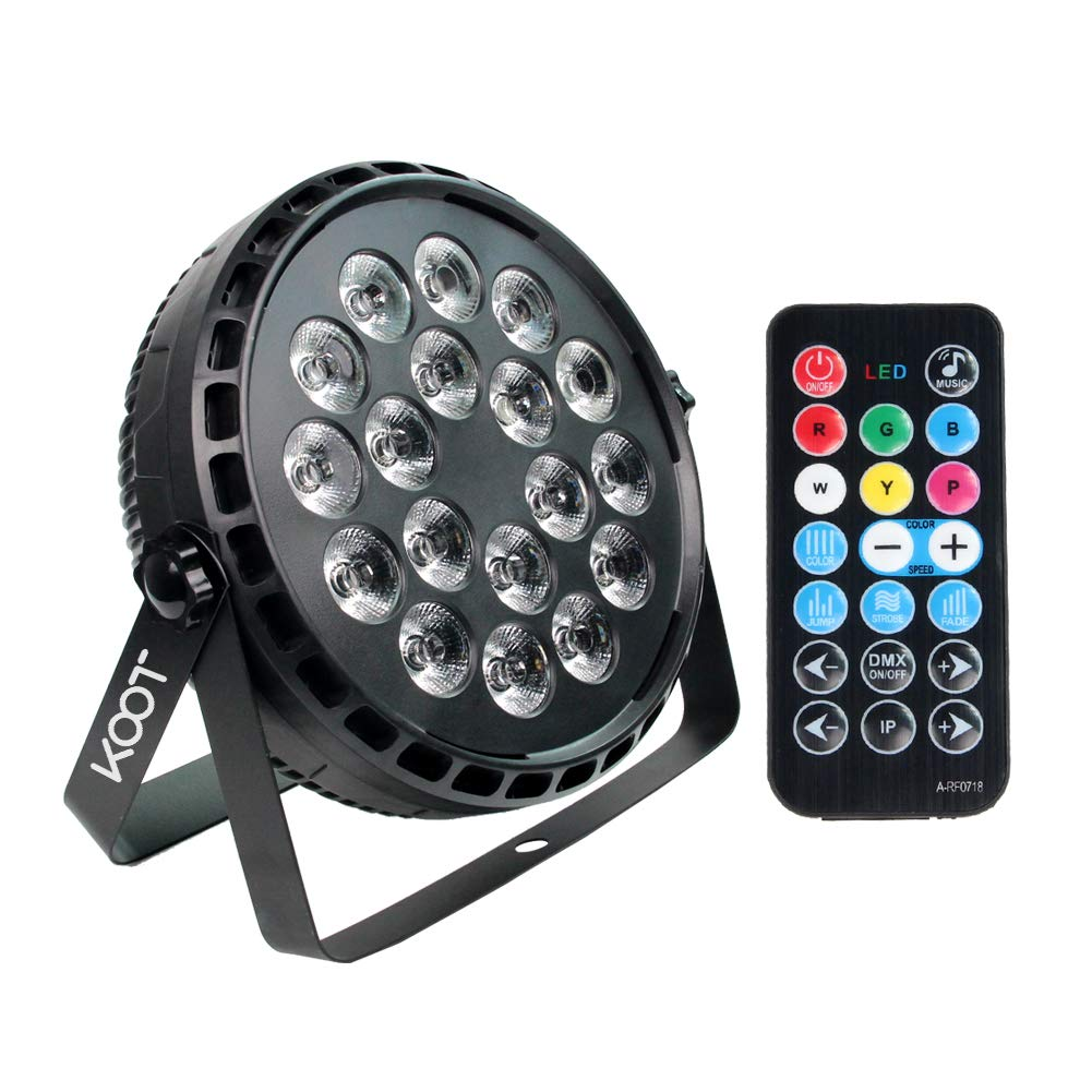 Stage Lights,KOOT 72W Super Bright RGBW Uplight DJ Par Can Light LED by Remote Control and DMX Sound Activated for DJ Club Bar Wedding Show by KOOT