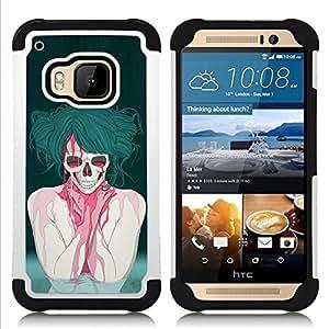GIFT CHOICE / Defensor Cubierta de protección completa Flexible TPU Silicona + Duro PC Estuche protector Cáscara Funda Caso / Combo Case for HTC ONE M9 // Goth Punk Skull //