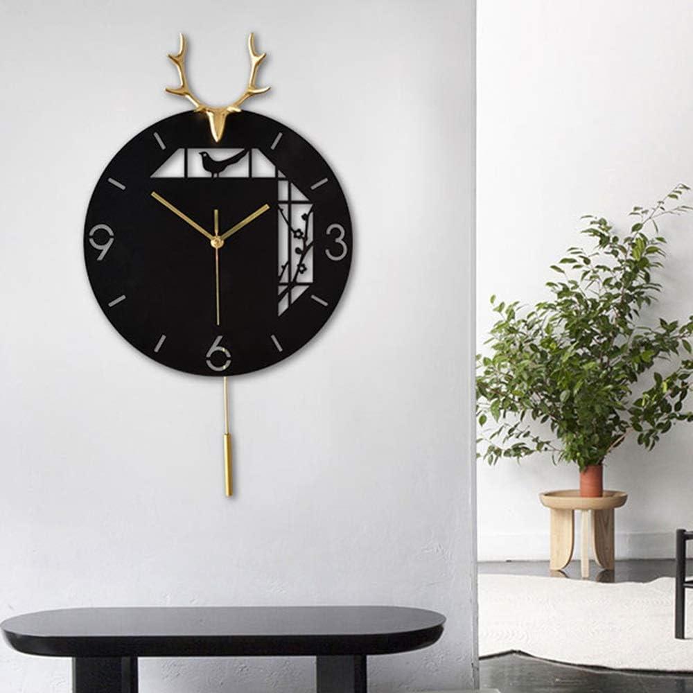 TOMSSL ブラックシンプルな銅鹿の頭時計表リビングルームモダンアートウォールクロッククリエイティブ家庭用メタル53 * 30(cm)の 美しくて良質
