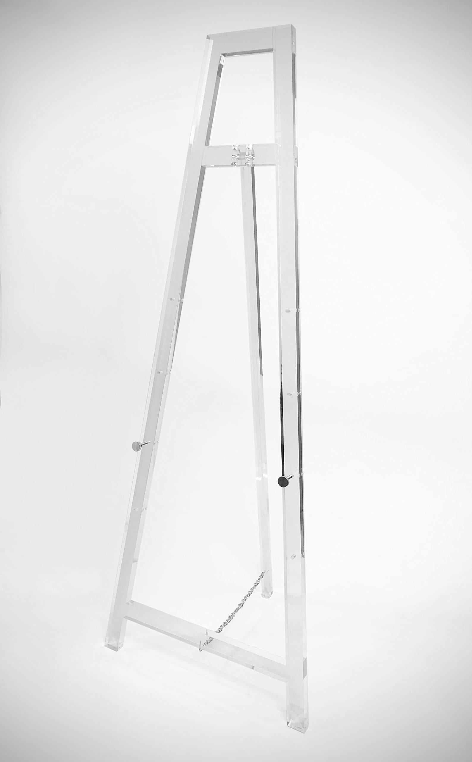Designstyles Decorative Acrylic Easel Stand - Adjustable Floor Display for Art Pieces, Signs, Mirrors and Chalk/Dry Erase Boards - 58'' Tall, Solid Clear for Classy Exhibits and Paintings