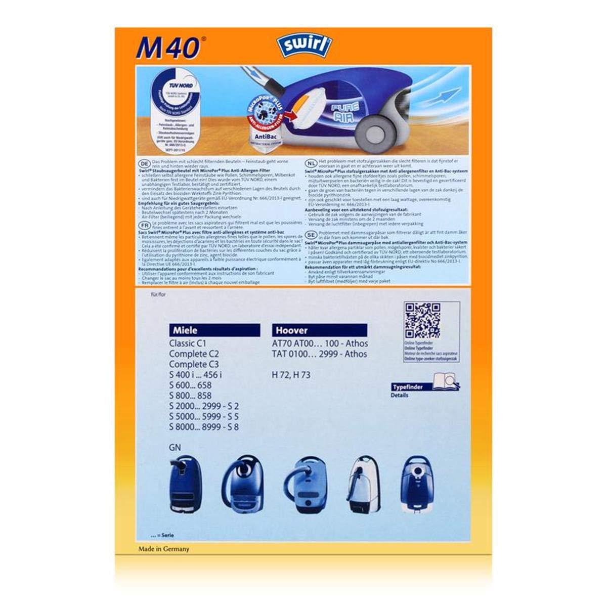 8   Staubsaugerbeutel Swirl M40  für Miele Cat /& Dog Special 5000