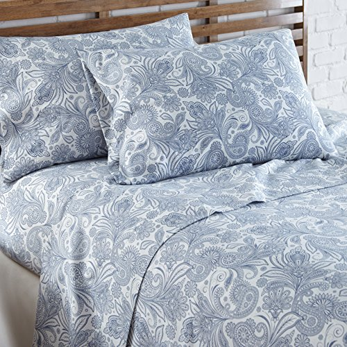 Southshore Fine Linens - Perfect Paisley Boho Collection 4 Piece Sheet Sets, Full, White with Blue Paisley by Southshore Fine Living, Inc. (Image #2)