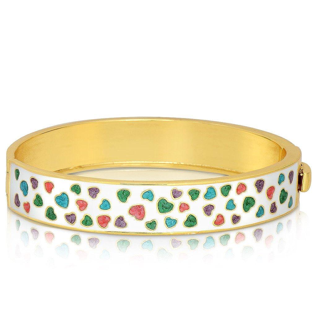 Lily Nily Girls Pastel Mini Hearts Pattern Bangle Bracelet