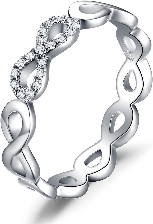 JewelryPalace Anillo Mujeres Infinito Amor para siempre Promesa Aniversario con Zirconia cúbica Plata de Ley 925