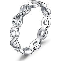 JewelryPalace Anillo Infinito Amor Para, Anillos Mujer Plata Diamante Simulado, Anillos Plata de ley 925 Mujer en Oro…