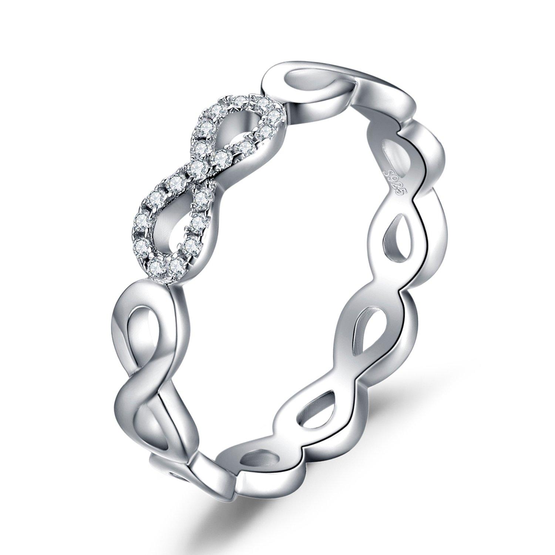 JewelryPalace Magnifique Bague de Fiançailles Femme Infini Aillance Mariage Anniversaire en Argent Sterling 925 en Zircon Cubique de Synthèse EU-AR850199
