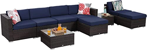 Sophia William Outdoor Sectional Furniture 9 Piece Patio Sofa Set Low-Back Rattan Wicker Conversation Set