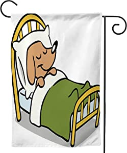 C COABALLA Cute Dog Sleeping in Bed - - Dog,Decorative Outdoor Flag Sign,House ard Garden Flag Seasonal Outside Decoration Animal 28''x40''