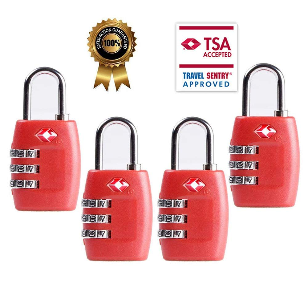 TSA Luggage Locks, TSA Approved Travel Combination Luggage Locks Suitcases-4 Pack (Green) Luckytravel Mall