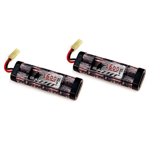 Venom 9.6v 1600mAh 8 Cell Flat NiMH Battery for Airsoft Tamiya - 2 Packs