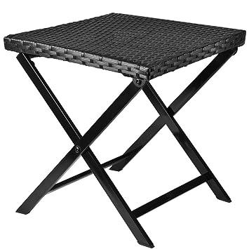 Amazon.de: Polyrattan Klapphocker Tisch Beistelltisch Rattan ...