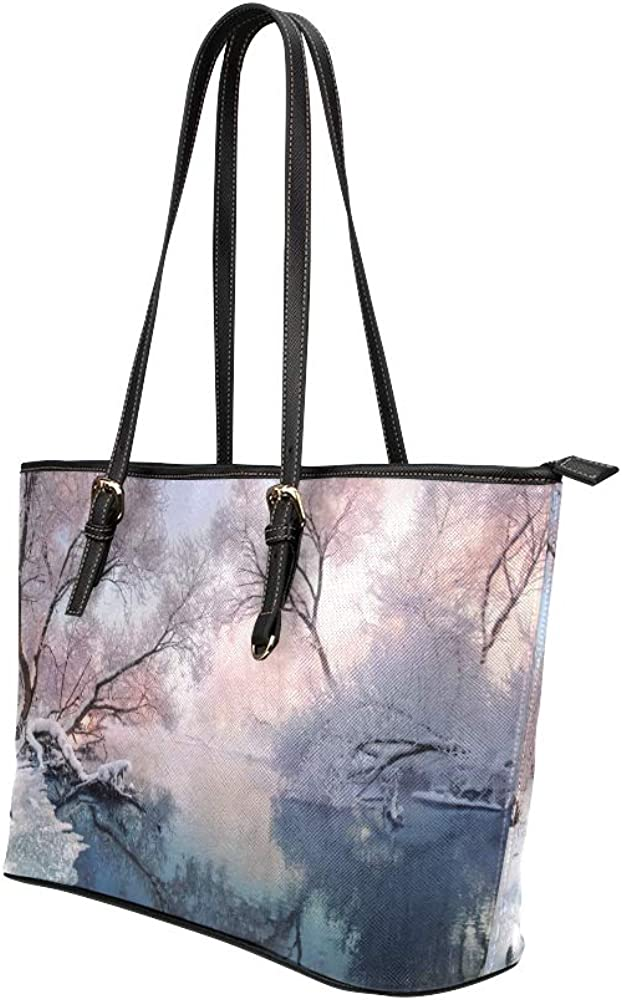 Personalized Tote Bags For Women Beautiful White Winter Snow Scene Leather Hand Totes Bag Causal Handbags Zipped Shoulder Organizer For Lady Girls Womens Womens Tote Handbags
