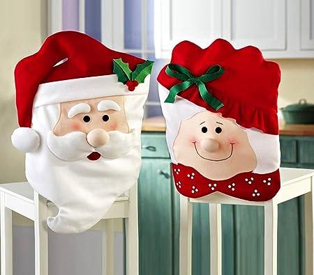 MEDIA WAVE store 3037 Set Due coprisedia Natalizi Babbo Natale e Mamma Natale Dettagli in Rilievo