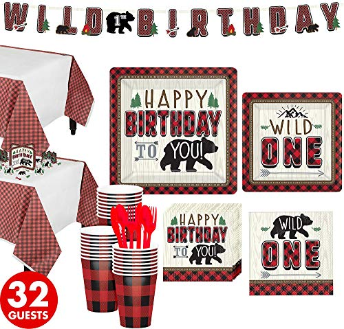 Party City Little Lumberjack 1st Birthday Party Supplies for 32 Guests, Include Plates, Napkins, Cups, and Decorations ()