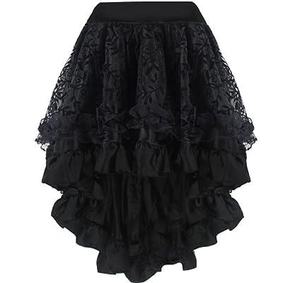Aiuem Falda del Vestido gótico Victoriano Steampunk asimétrico Steampunk del Volante de Tul Floral de Las Mujeres: Ropa y accesorios