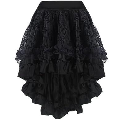 Aiuem Falda del Vestido gótico Victoriano Steampunk asimétrico ...