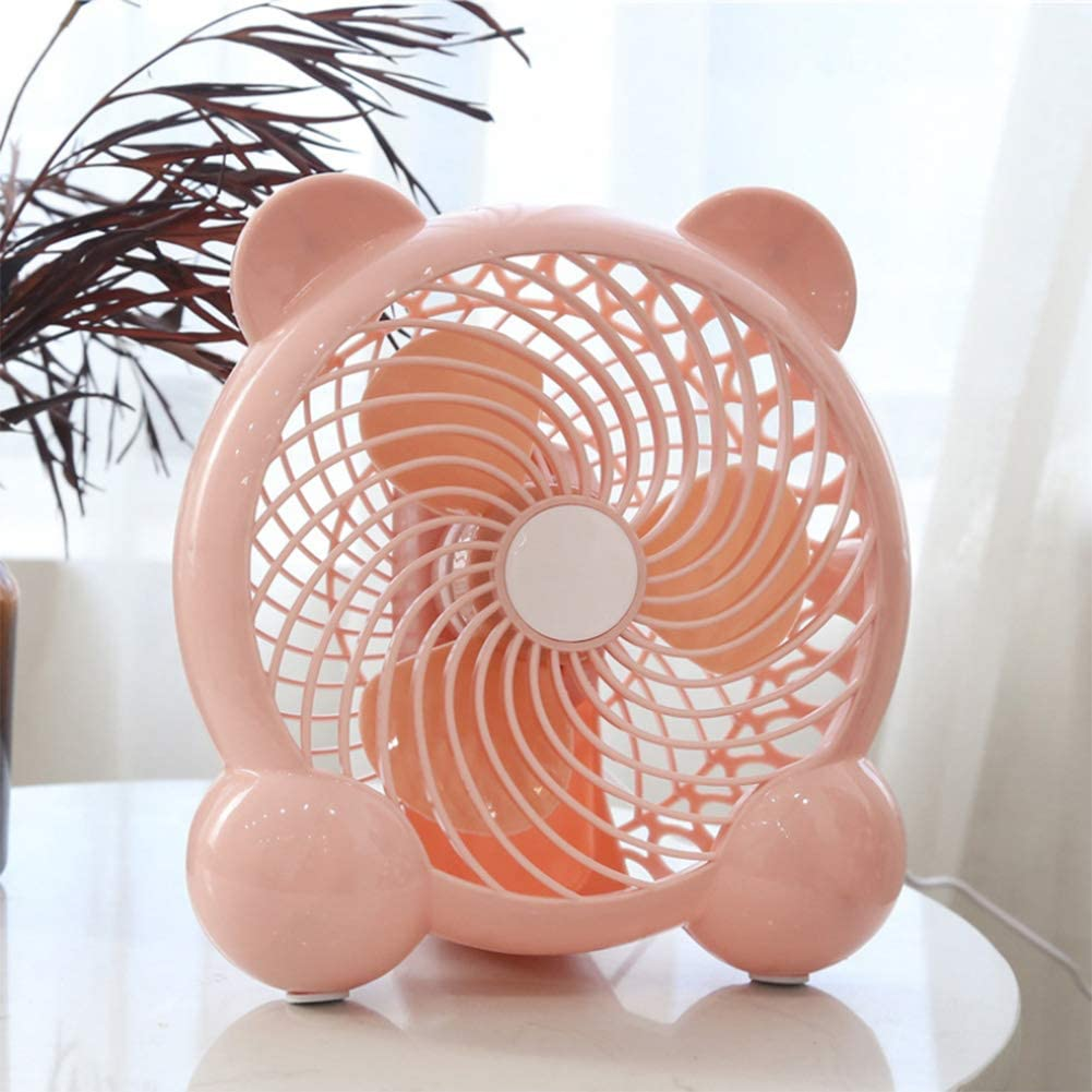 Office CJF Mini USB Desktop Fan,withTwo-Speed Adjustment Simple Plug /& Play,Pink Low Noise,Portable Compact Fan,for Home