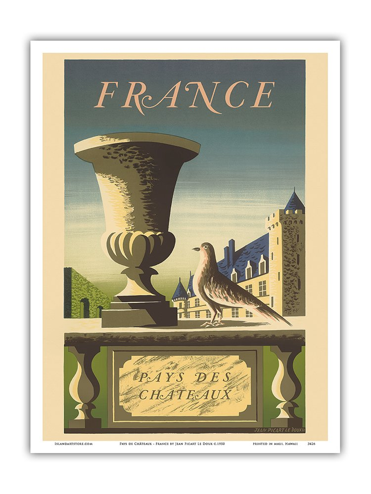 12in x 18in Master Art Print France Country of Castles Pays de Ch/âteaux - Vintage World Travel Poster by Jean Picart Le Doux c.1950
