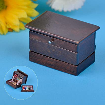 Lovely Vintage Needle 1:12 Box Mini Miniature Kit Decor Dollhouse