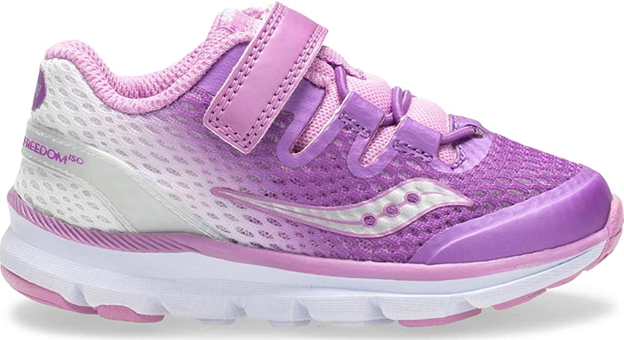 Saucony Girl's S-Baby Freedom ISO Sneakers, Purple/White, 4 M US Little Kid