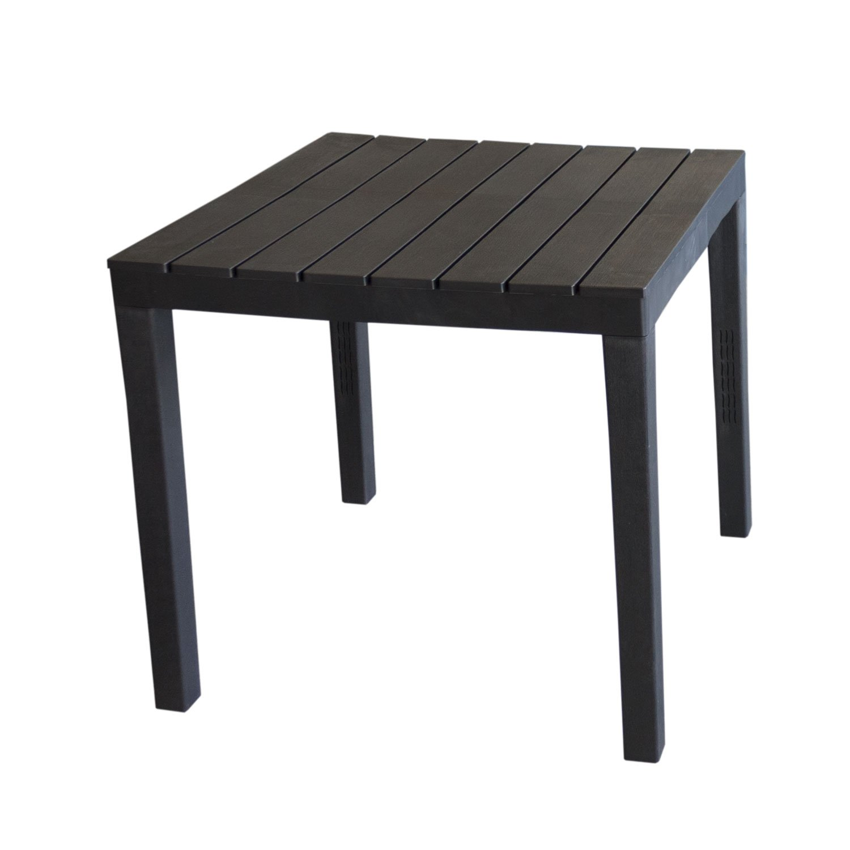 Wohaga Campingtisch 'Bali' Tischplatte in Holz-Optik Vollkunststoff Anthrazit - 78x78xH72cm