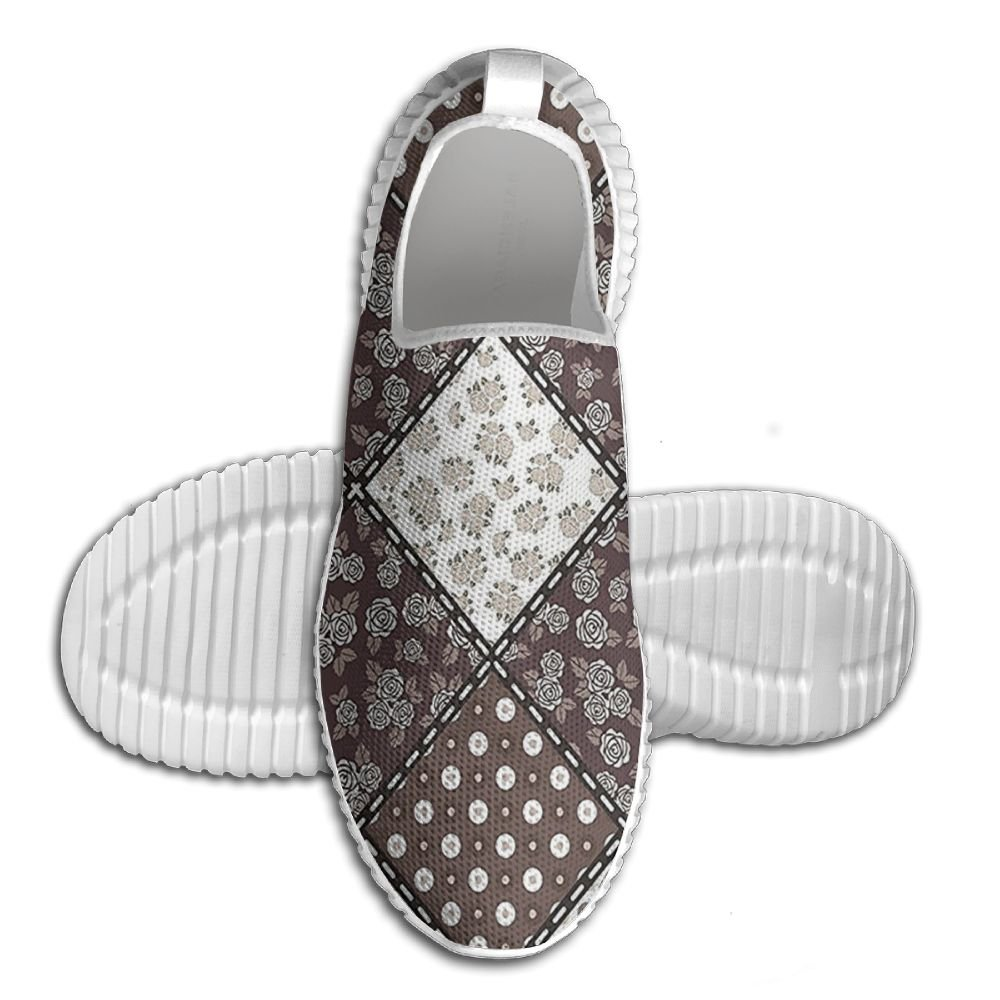 DiamondsJun Unisex Patchwork With Polka Dots Hibiscus Flowers And Authentic Rounds All Over 3D Printed Mesh Slip On Fashion Comfortable Shoes 46