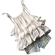 Todaies,Hot Sale 2PCS Summer Baby Girls Chiffon Pearl Vest Shirt+Jean Shorts Outfits Clothes Set 2018 (3/4T, White)