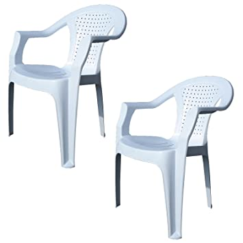 0fd7e011e955 Indoor & Outdoor White Plastic Lawn Chairs Garden Patio Armchair Stacking  Stackable ...