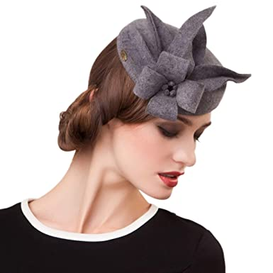 61910d7de26f4 Image Unavailable. Image not available for. Color  Womens Fascinator Wool  British Berets Floral Felt Hats Wedding Fedora Pillbox ...
