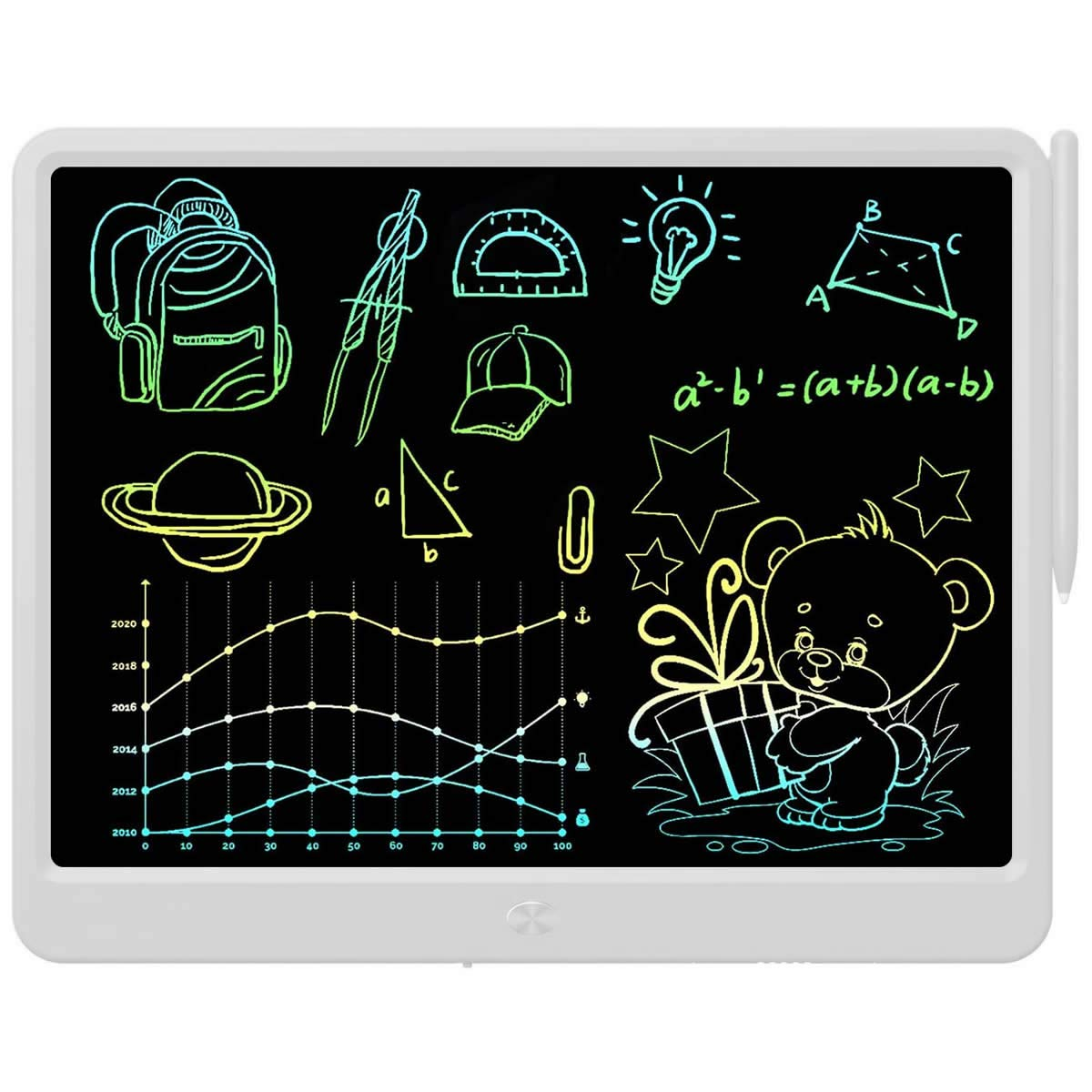 LCD Writing Tablet, Extra large 15 Inch, Colorful Writing, Erasable Electronic Digital Drawing Pad Doodle Board, Gift for Kids Adults Home School Office (White)