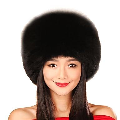 c865015c2533a URSFUR Black Fox All Fur Zhivago Pill Box Fur Hat with Fox Tail (Black)