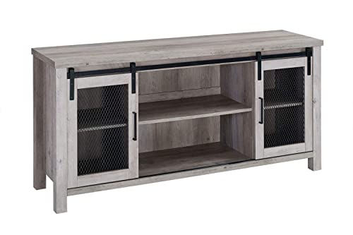 Walker Edison Furniture Company 58 Industrial TV Stand with Sliding Mesh Door – Grey Wash