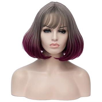 12 Corta lockig Lolita Fashion Harajuku Cosplay Hair Full Wig Peluca (Gris + púrpura