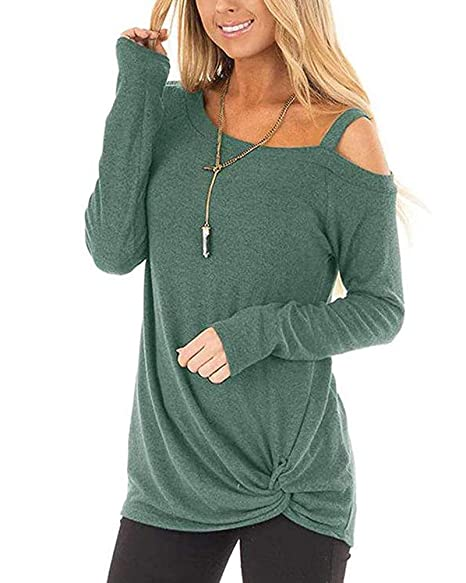ec57dee1f1e Womens Tops 3 4 Sleeve Loose fit Cold Shoulder T Shirt Blouses Tunic Army  Green