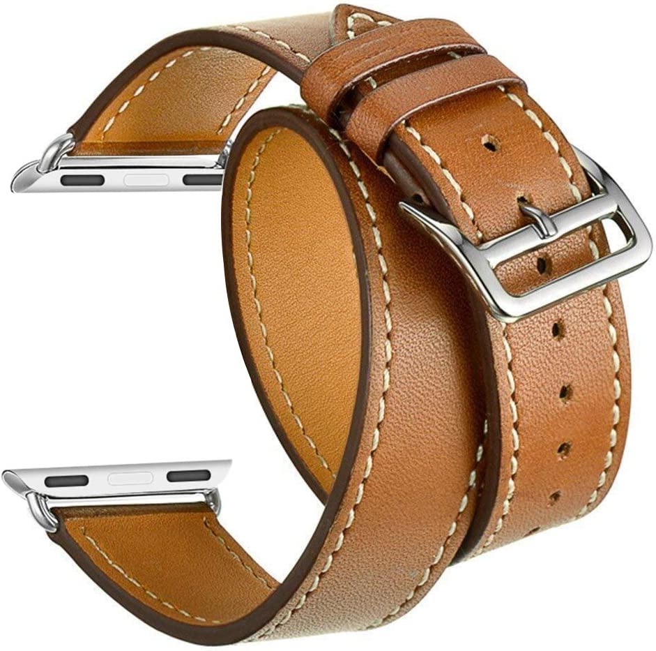 Valkit Compatible with Apple Watch Band 38mm 40mm 42mm 44mm, Double Tour Replacement Genuine Leather Strap Women Men Wristband for Apple Watch Series SE/6/5/4/3/2/1,Brown