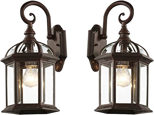 Ciata Lighting Rust Outdoor Wentworth 15.75 Wall Lantern, Antique Rust 2 Pack