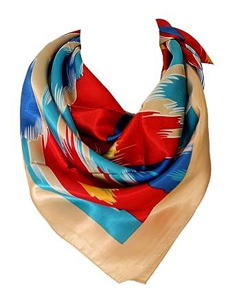 c2eb6657a0bd Bullahshah Impression Abstraite Multi couleur foulard en soie satin  foulards carrés tête écharpe (Beige Bleu Rouge)  Amazon.fr  Vêtements et  accessoires