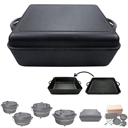 Olla de Hierro Fundido Dutch Oven para Camping Barbacoa BBQ Parrilla 5 Tallas Disponibles + Set