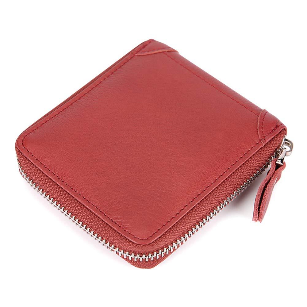 Leather Men's Wallet, RFID Zipper Clutch, Leather Coin Purse Short AntiMagnetic Wallet, Multiple Card Slots Plus Coin Pocket