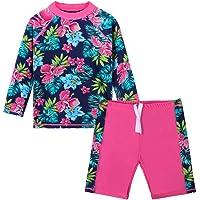 HUAANIUE Meisjes 2 Stuks HotPink Longsleeve Zwempak Summmer Print Bloem Zonnebescherming Pak UPF 50+ Kinderen…