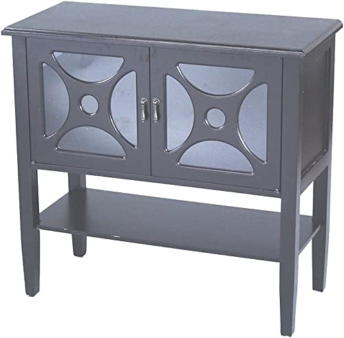 Heather Ann Creations Modern 2 Door Accent Console Cabinet with Half Circle Pane Glass Insert and Bottom Shelf Black