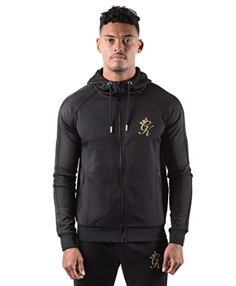 Gym King Hoodie Poly Tracksuit Top - Black Gold - XL  Amazon.co.uk ... 58528d1f4e52
