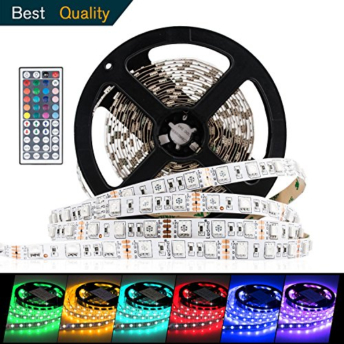 Led Strip Lights SMD5050 RGB Led Strip Lighting Multi-colors Led Light Strips Color Changing Led Tape Lights 16.4Ft/5m Non-Waterproof IP20 Strip Lights with 44 Key IR Remote Controller DIY Decoration -  RICH TECHNOLOGY, 14167233