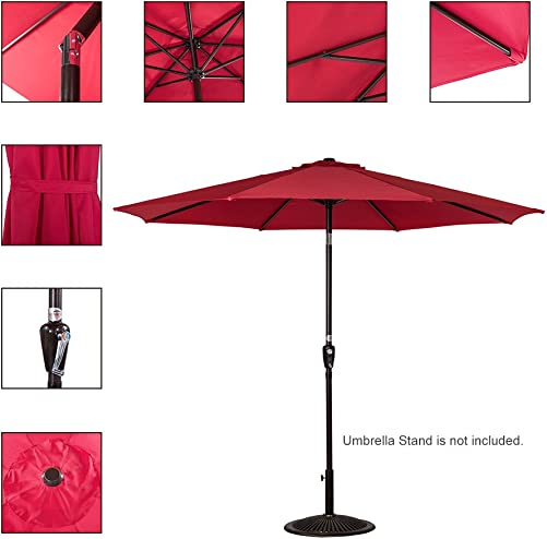 Sundale Outdoor 9 Feet Aluminum Market Umbrella Table Umbrella with Crank and Push Button Tilt for Patio, Garden, Deck, Backyard, Pool, 8 Steel Ribs Red-N